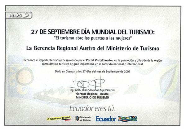 Reconocimiento por fomentar el Turismo en la Región (2007)