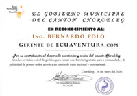 Reconocimiento por fomentar el Desarrollo en el Cantón(2006)